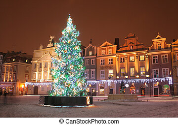 Old town in Poznan, Poland - Old market square during the...