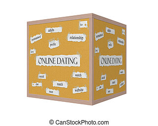 Online Dating 3D Corkboard Word Concept with great terms...