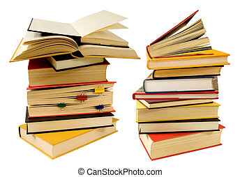 LOTS OF INFORMATIONS - pile of books on a white background