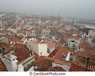 alfama in lisbon - The old quarter of Alfama from above in...