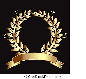 Gold laurel wreath award ribbon. Can represent victory,...