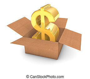 Golden Dollar in Box - Golden dollar sign inside a cardboard...