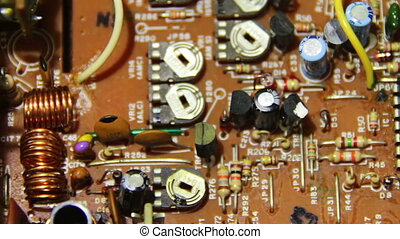 Circuit Boards with Electronic Components 1 - Close-up of...