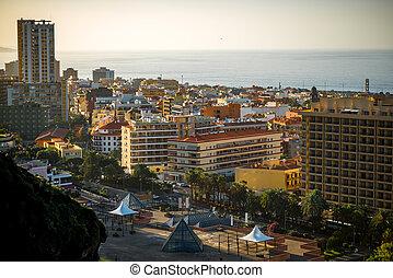 Puerto de la Cruz - Aerial view on Puerto de la Cruz city on...
