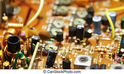 Circuit Boards with Electronic Components 2 - Close-up of...