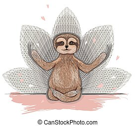 Cute sloth meditation Yoga lotus asana