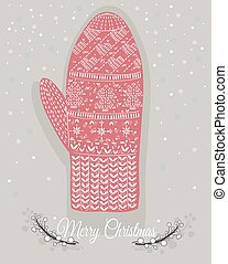 Cute christmas mitten with hearts and christmas trees...