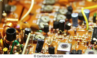 Circuit Boards with Electronic Components 3 - Close-up of...