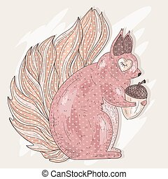 Cute pink squirrel holding acorn. Illustration for kids or...
