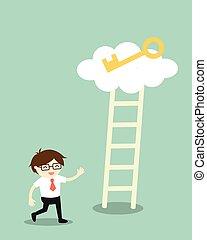 dourado, escada, escalar, tecla, adquira