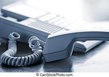 escrivaninha, telefone, desligado, gancho