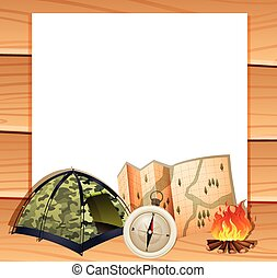Border design with camping equipments illustration