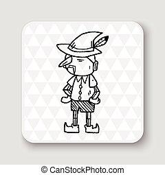 Pinocchio, scarabocchiare,