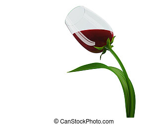Tulip-style wine glass concept - 3d isolated on white...