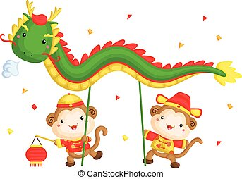 Monkey Chinese Dragon Dance