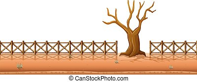 Dry tree with fences along the road