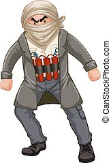 Terrorist man wrapped himself with bomb illustration