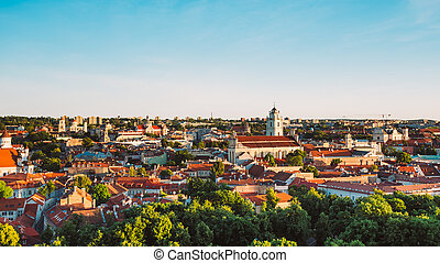Sunset Sunrise Cityscape Of Vilnius, Lithuania In Summer....