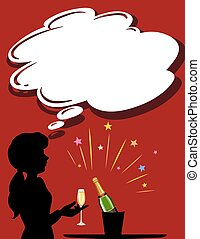 Silhouette girl with champagne glass