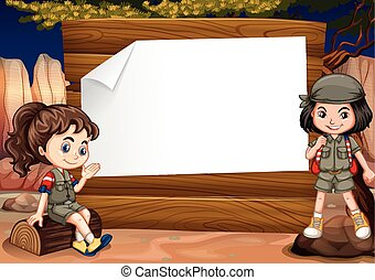 Border design with two girl camping out illustration