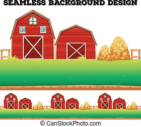 Barns and haystack on farm illustration
