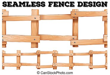 Seamless wooden fence design illustration