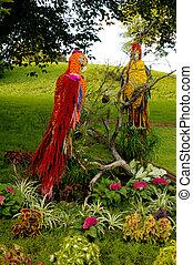 Artistic Landscape-gardening Parrots flower arrangement