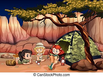 Girls camping out in the canyon illustration