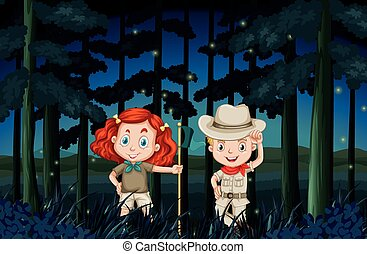 Boy and girl camping out at night illustration