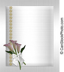 Wedding invitation call lilies white satin - Formal...