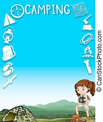 Border design with girl and camping tools