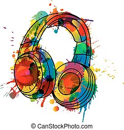 Headphones made of colorful splashes