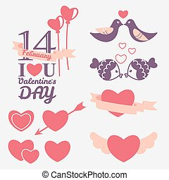 14 February Valentine's day design elements set