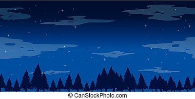 Seamless pine trees at night illustration