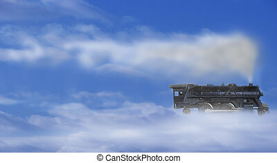 Steam Train in the sky - Conceptual view of a steam train...