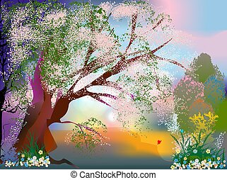 Spring landscape with flowers, - spring composition with...