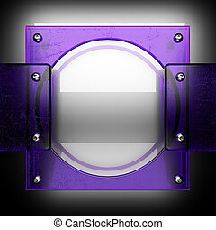 metal background with violet glass