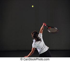 tennis girl - young girl exercise tennis sport indoor