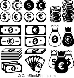 Money icon set Vector Illustration, EPS 10