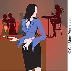 Lady standing in a restaurant