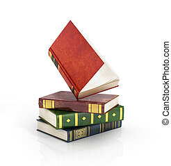 3d render of stack old colorful books with one open book on...