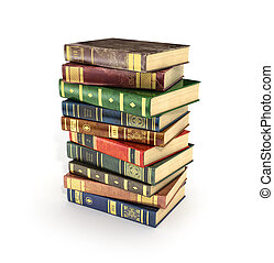 3d render of stack old colorful books on a white background.