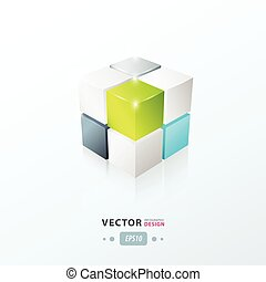 3D Cube green blue gray color