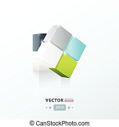 3D Cube twist green blue gray color