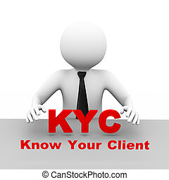 3d businessman with know your client kyc - 3d illustration...