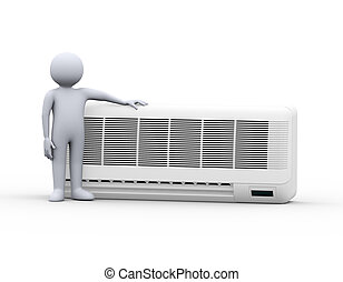 3d man standing with air conditioner - 3d illustration of...