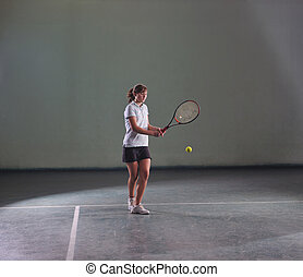 tennis girl - young girl exercise tennis sport indoor
