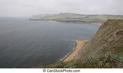 Dorset coast Kimmeridge Bay misty - Kimmeridge Bay east of...