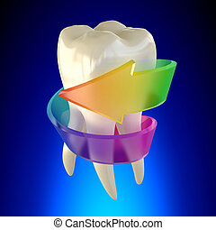 Tooth Molar Healthy isolated on blue background
