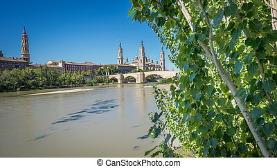 El Pilar basilica and the Ebro River - Panoramic view of El...